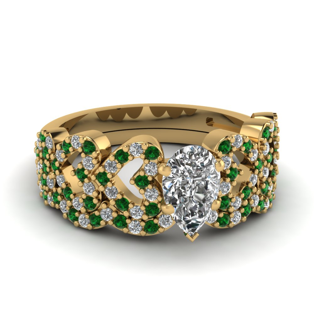 pear shaped heart design linked diamond wedding set with emerald in FDENS3051PEGEMGR NL YG.jpg