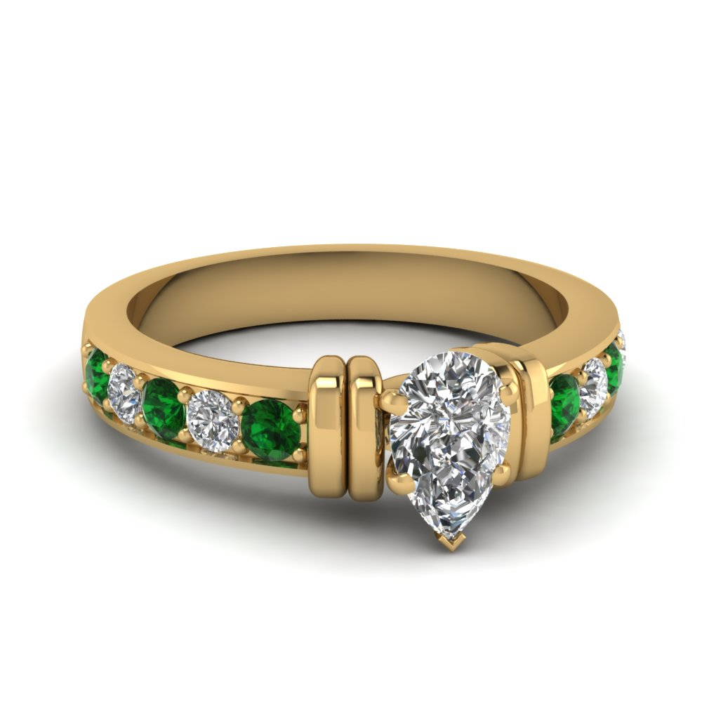 simple bar set pear diamond engagement ring with emerald in FDENR957PERGEMGR Nl YG