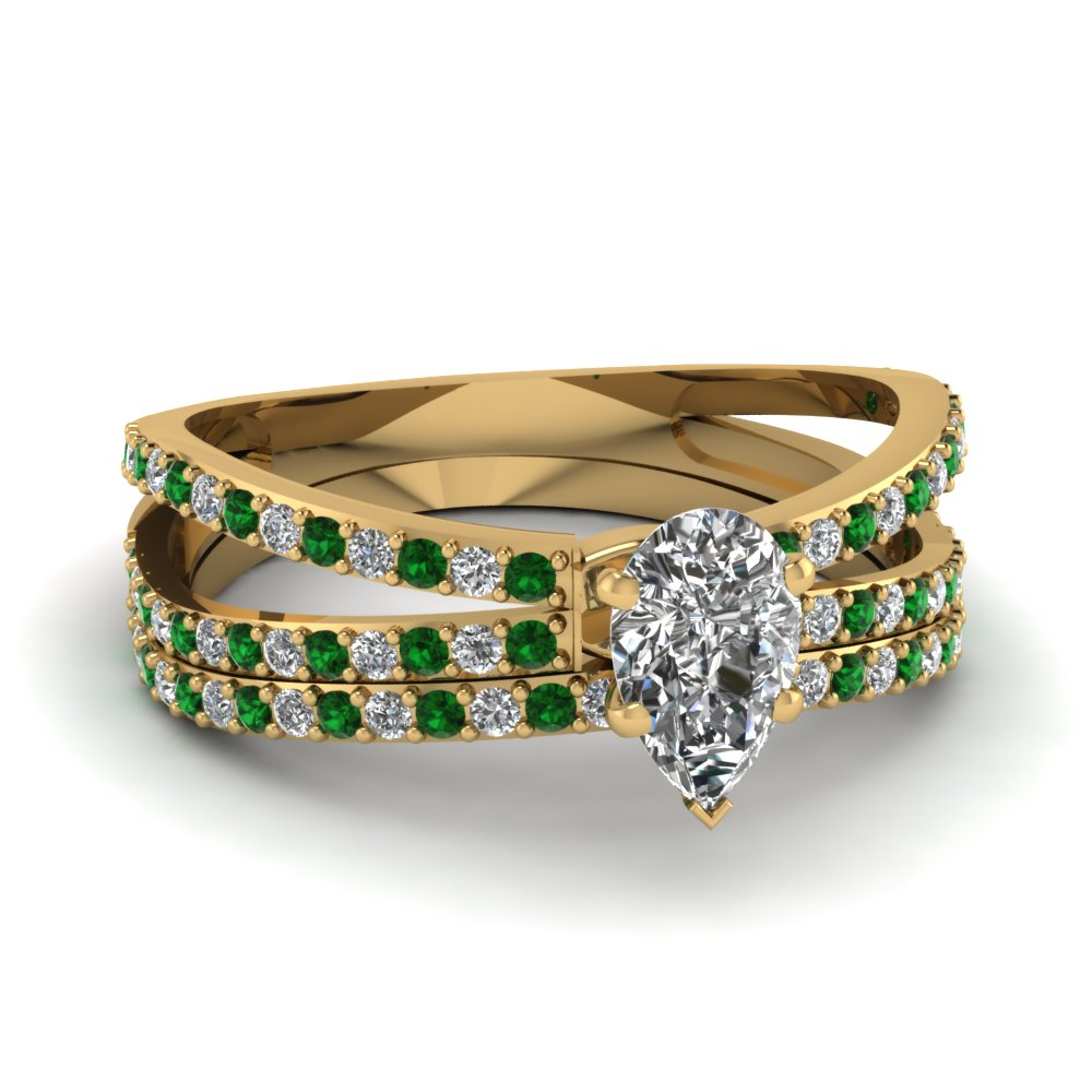reverse split shank pear diamond wedding ring set with emerald in FDENS3134PEGEMGR NL YG