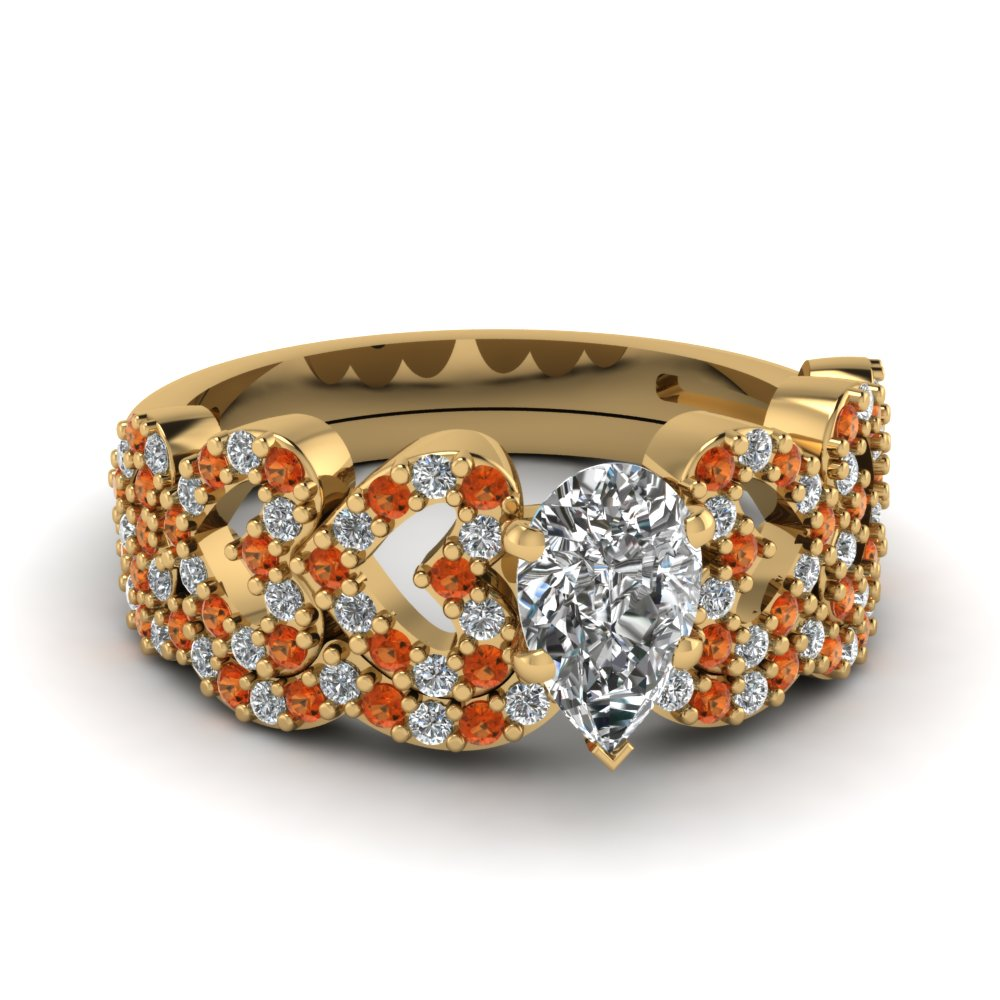 pear shaped heart design linked diamond wedding set with orange sapphire in FDENS3051PEGSAOR NL YG.jpg