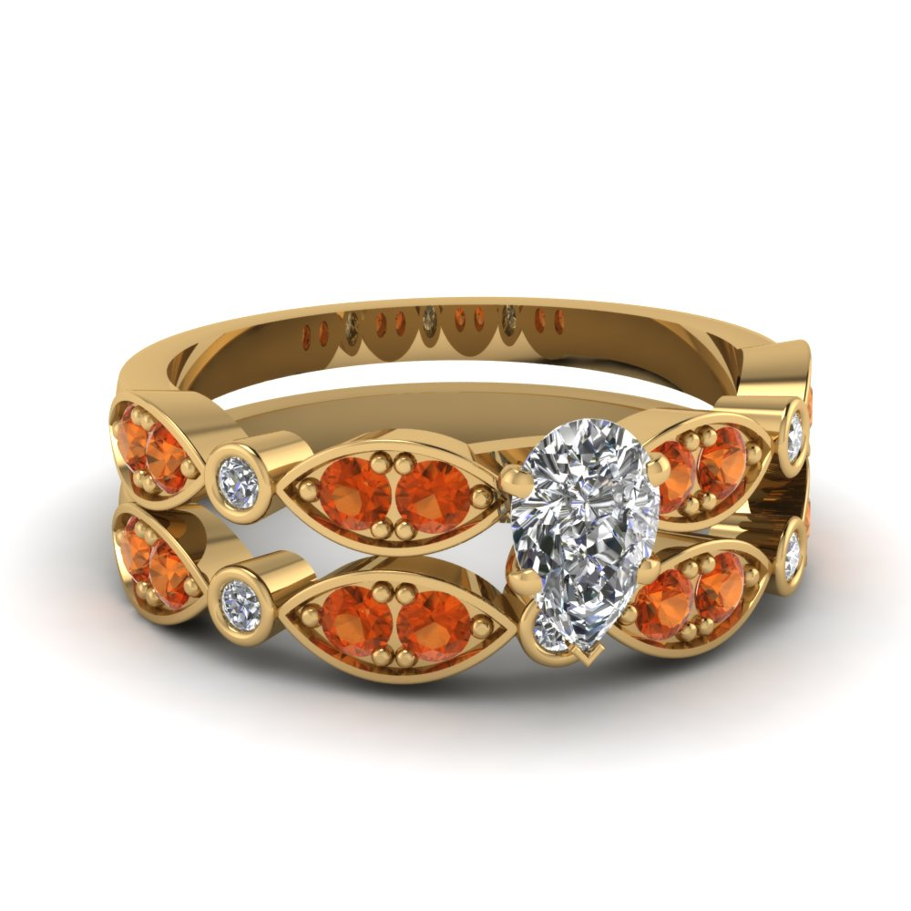 art deco pear diamond wedding ring set with orange sapphire in FDENS2035PEGSAOR NL YG