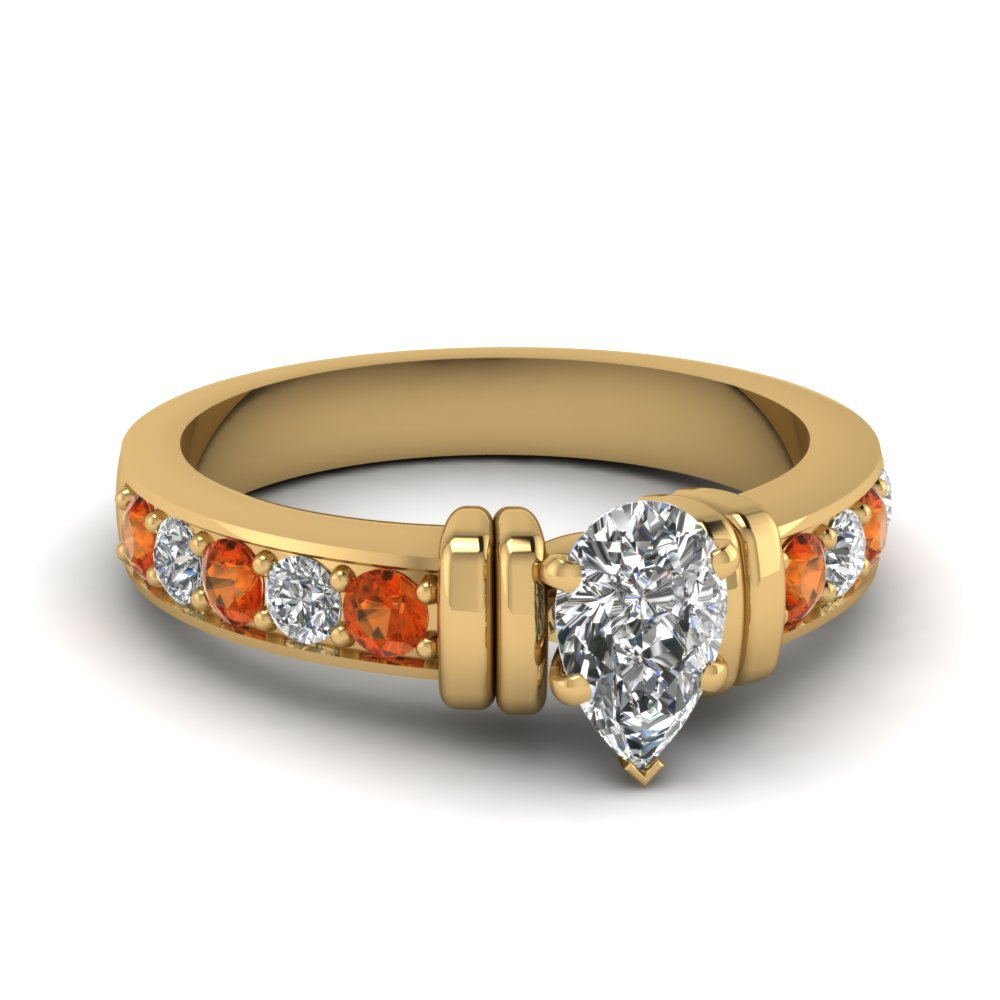 simple bar set pear diamond engagement ring with orange sapphire in FDENR957PERGSAOR Nl YG