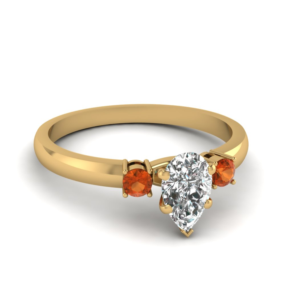 basket prong pear diamond 3 stone ring with orange sapphire in FDENS3106PERGSAOR NL YG