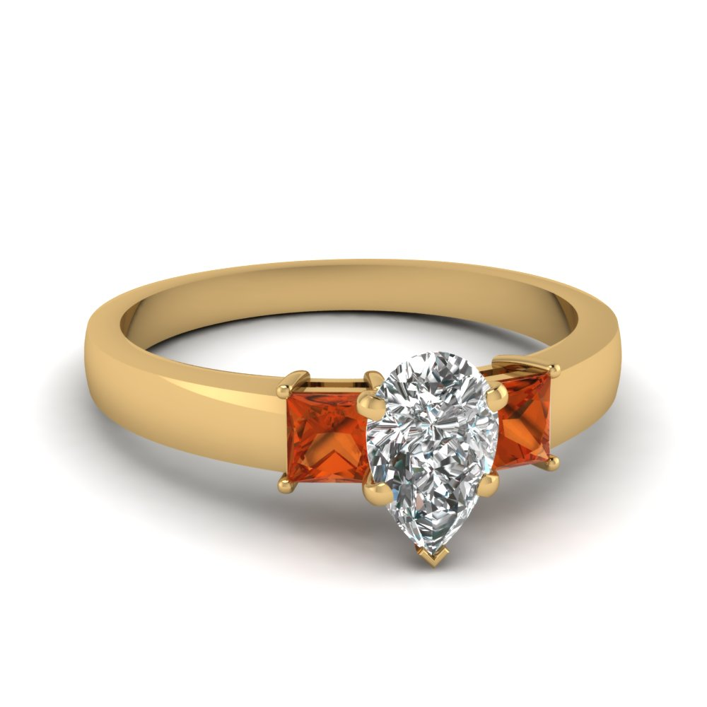 dainty 3 stone pear shaped engagement ring with orange sapphire in FDENS1024PERGSAOR NL YG