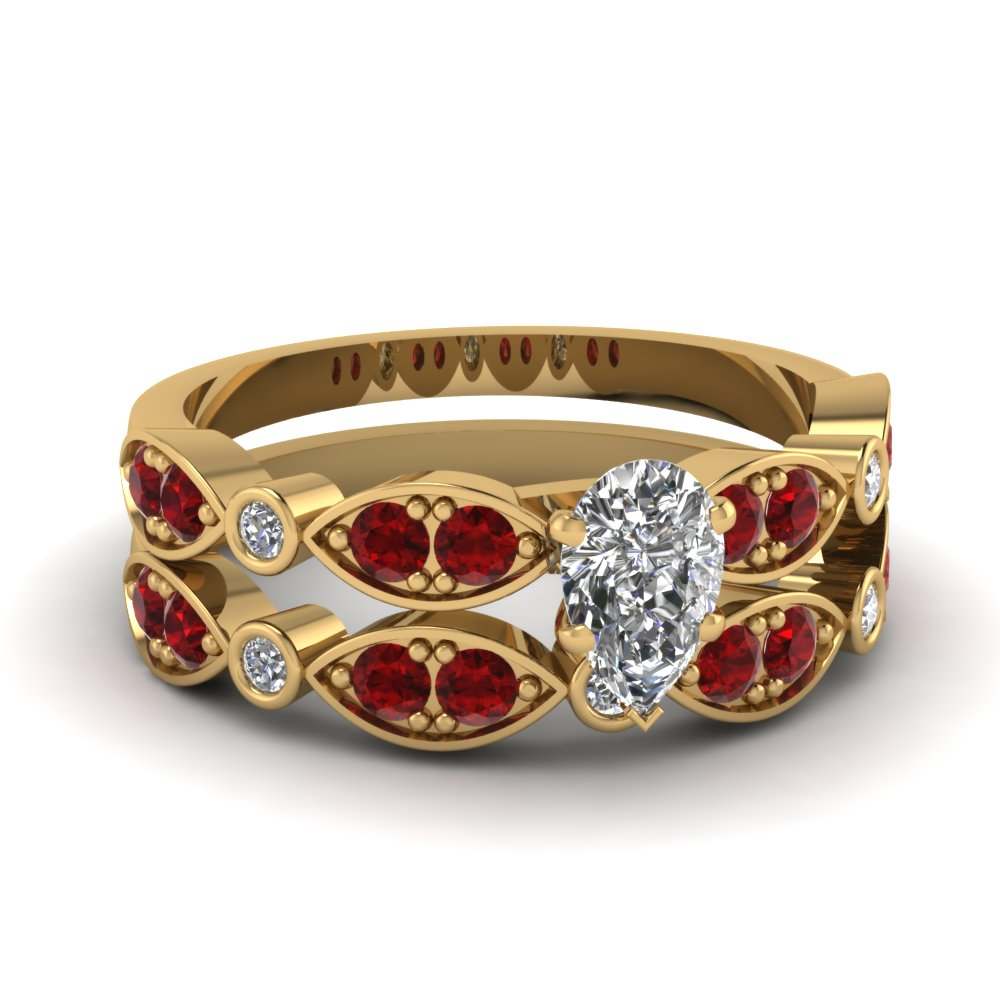 yellow-gold-pear-white-diamond-engagement-wedding-ring-with-red-ruby-in-pave-bezel-set-FDENS2035PEGRUDR-NL-YG