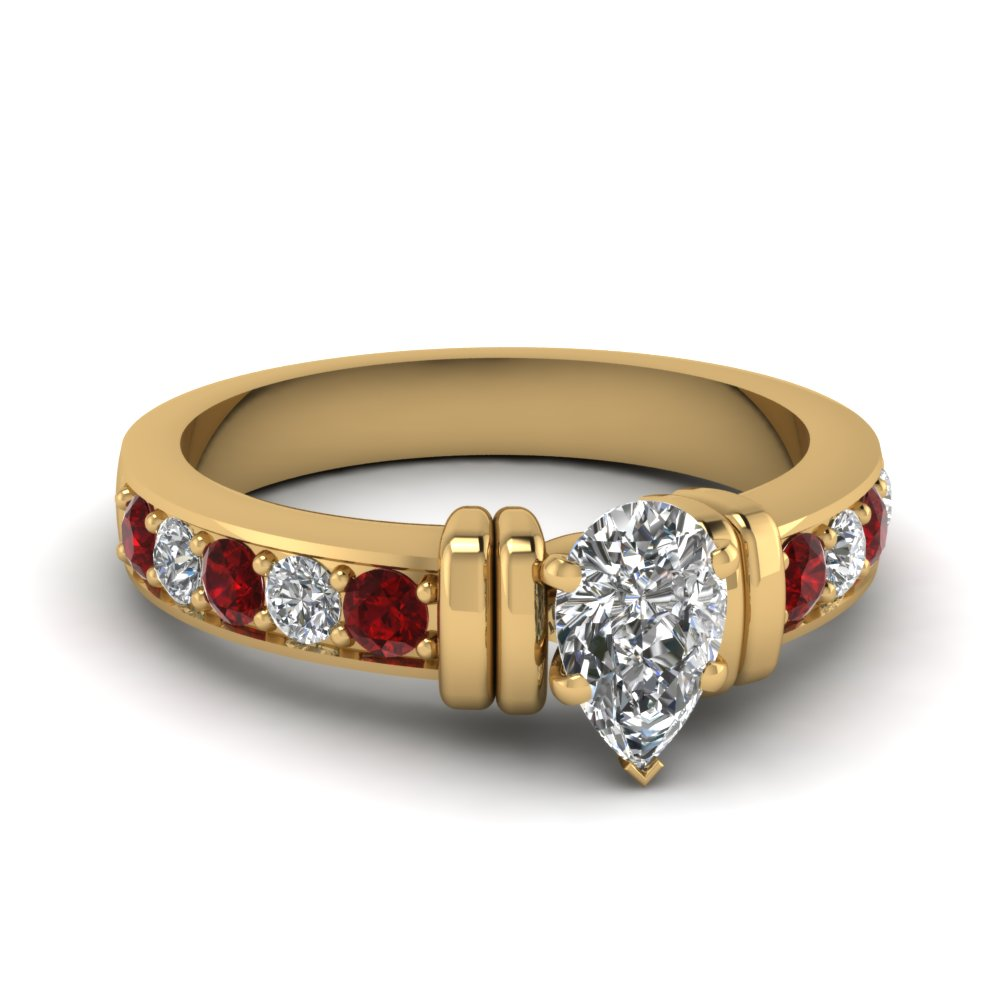simple bar set pear diamond engagement ring with ruby in FDENR957PERGRUDR Nl YG
