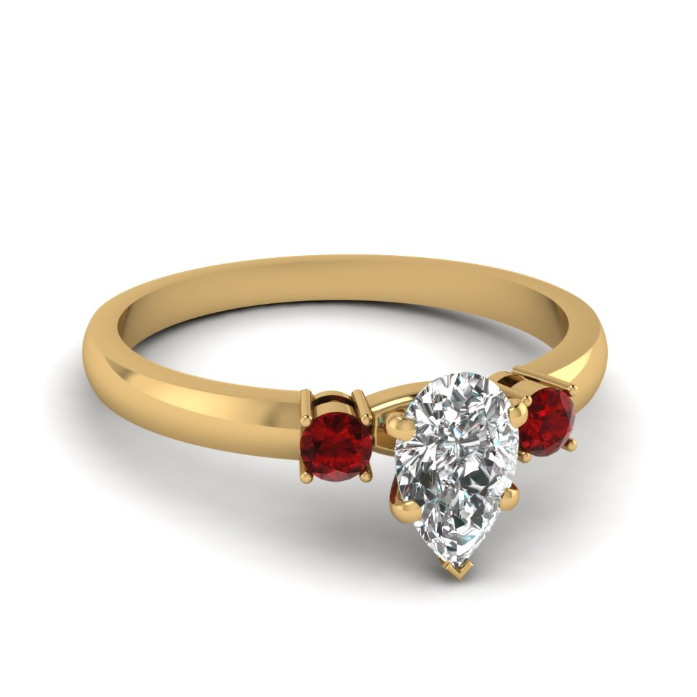Petite 3 Stone Ruby Gold Ring