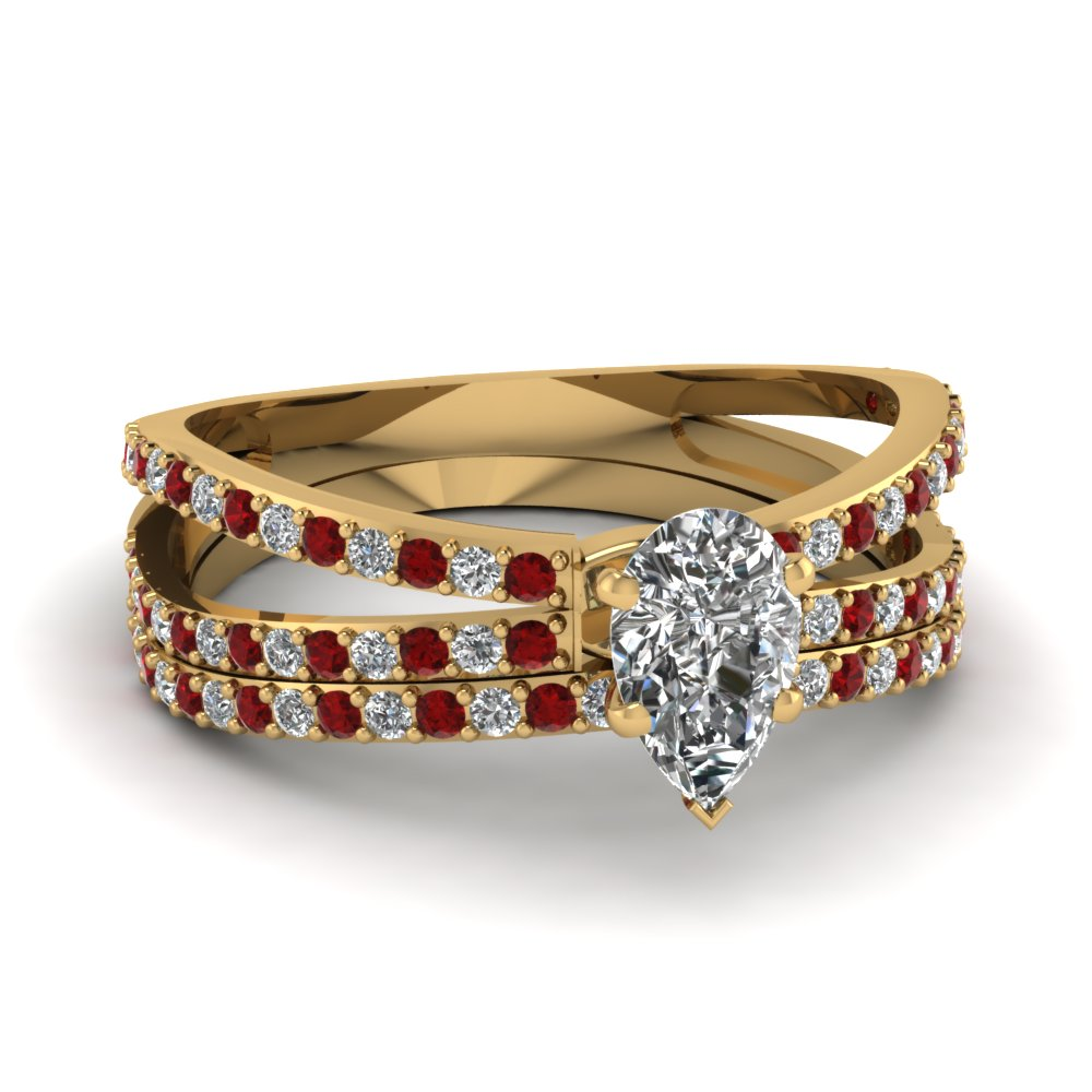 Teardrop Split Ruby Wedding Ring Set
