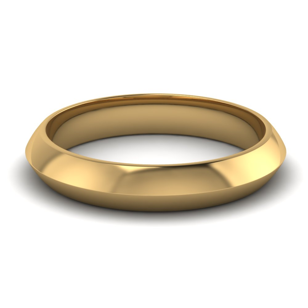 Mens Yellow Gold Knife Edge Wedding Band