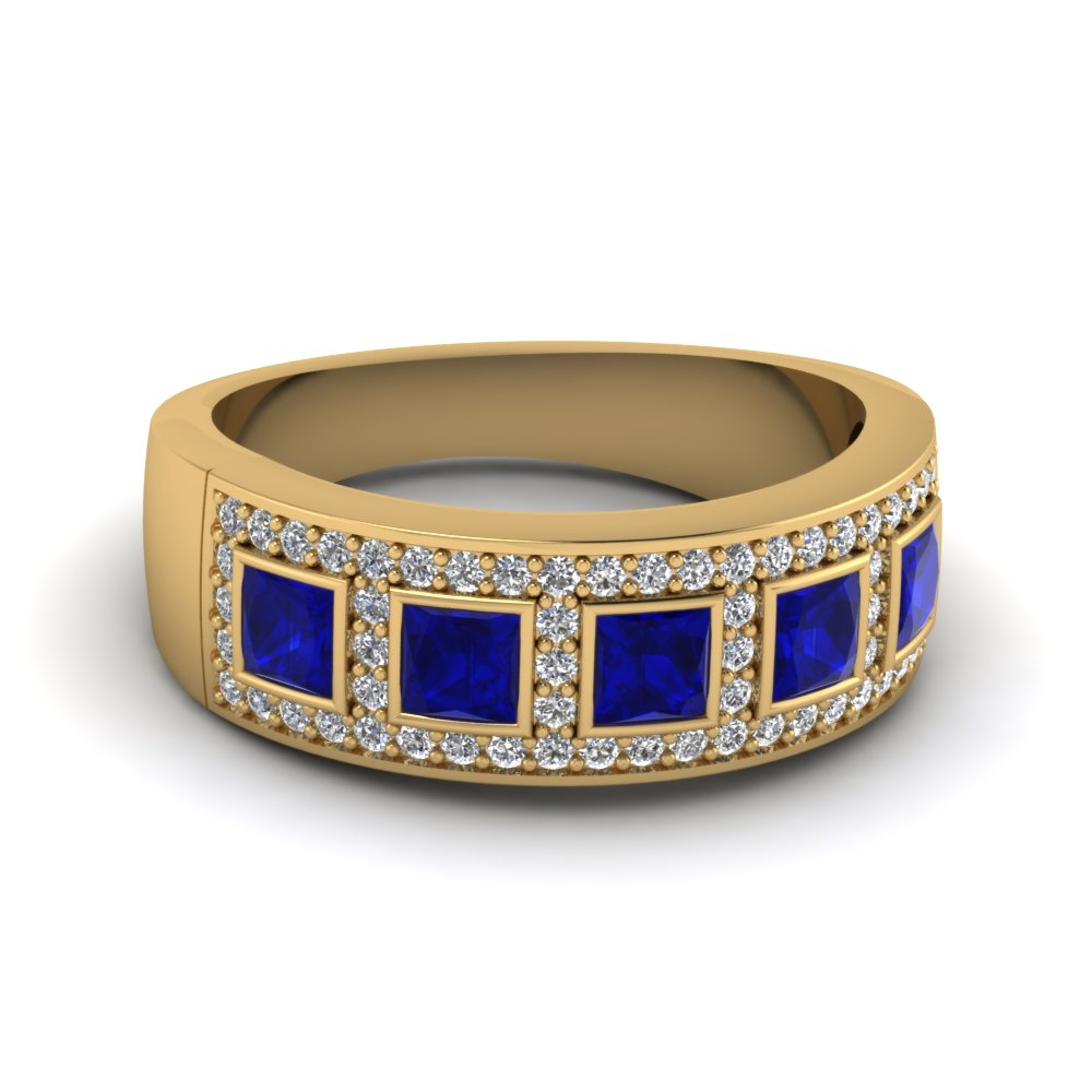 yellow-gold-princess-blue-sapphire-wedding-band-with-white-diamond-in-bezel-pave-set-FD64034BGSABL-NL-YG