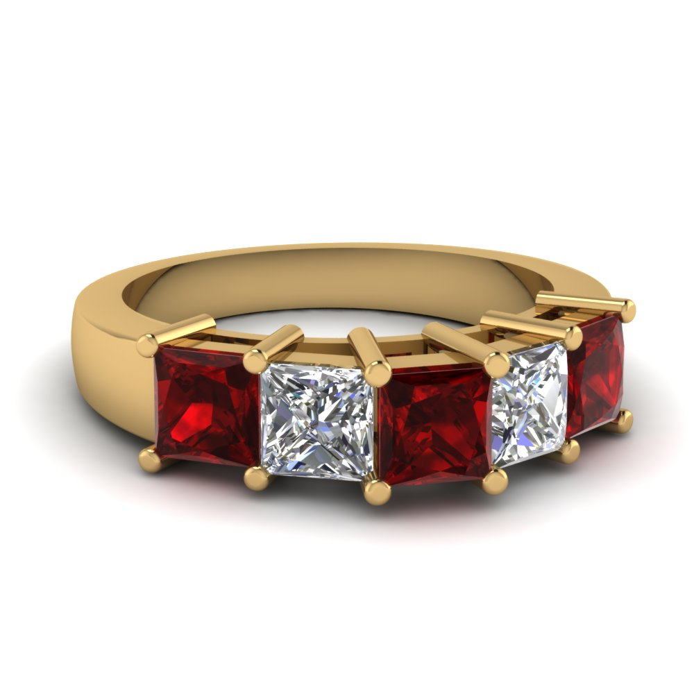 Princess Cut Ruby Wedding Band