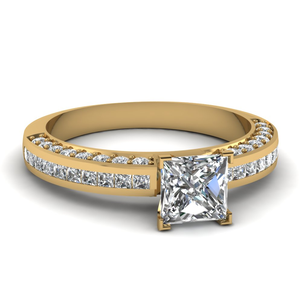Princess Cut Petite Pave Diamond Ring