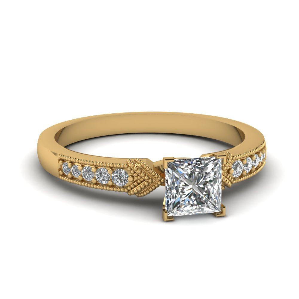 Pave Set Princess Diamond Milgrain Ring