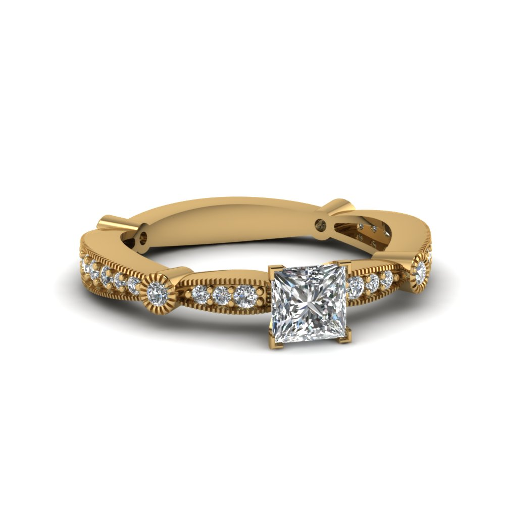 Princess Cut Tapered Milgrain Ring