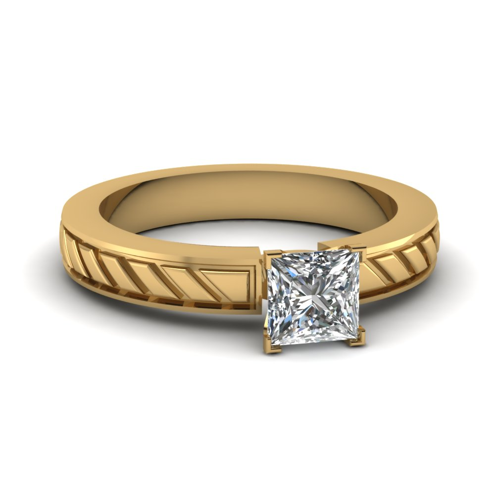 brick design princess cut lab diamond solitaire engagement ring in FDENS3529PRR NL YG