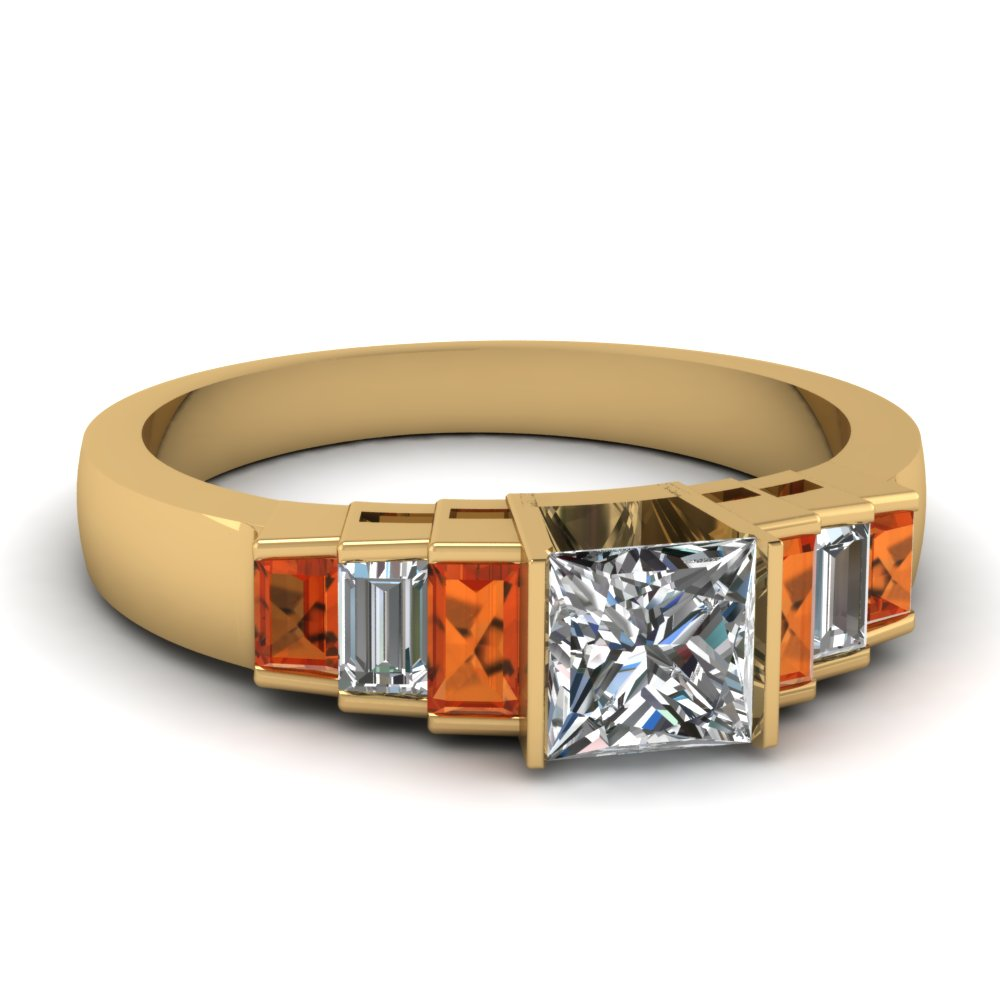 Diamond And Orange Sapphire Engagement Ring
