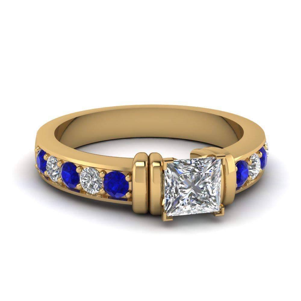 simple bar set princess cut lab diamond engagement ring with sapphire in FDENR957PRRGSABL Nl YG