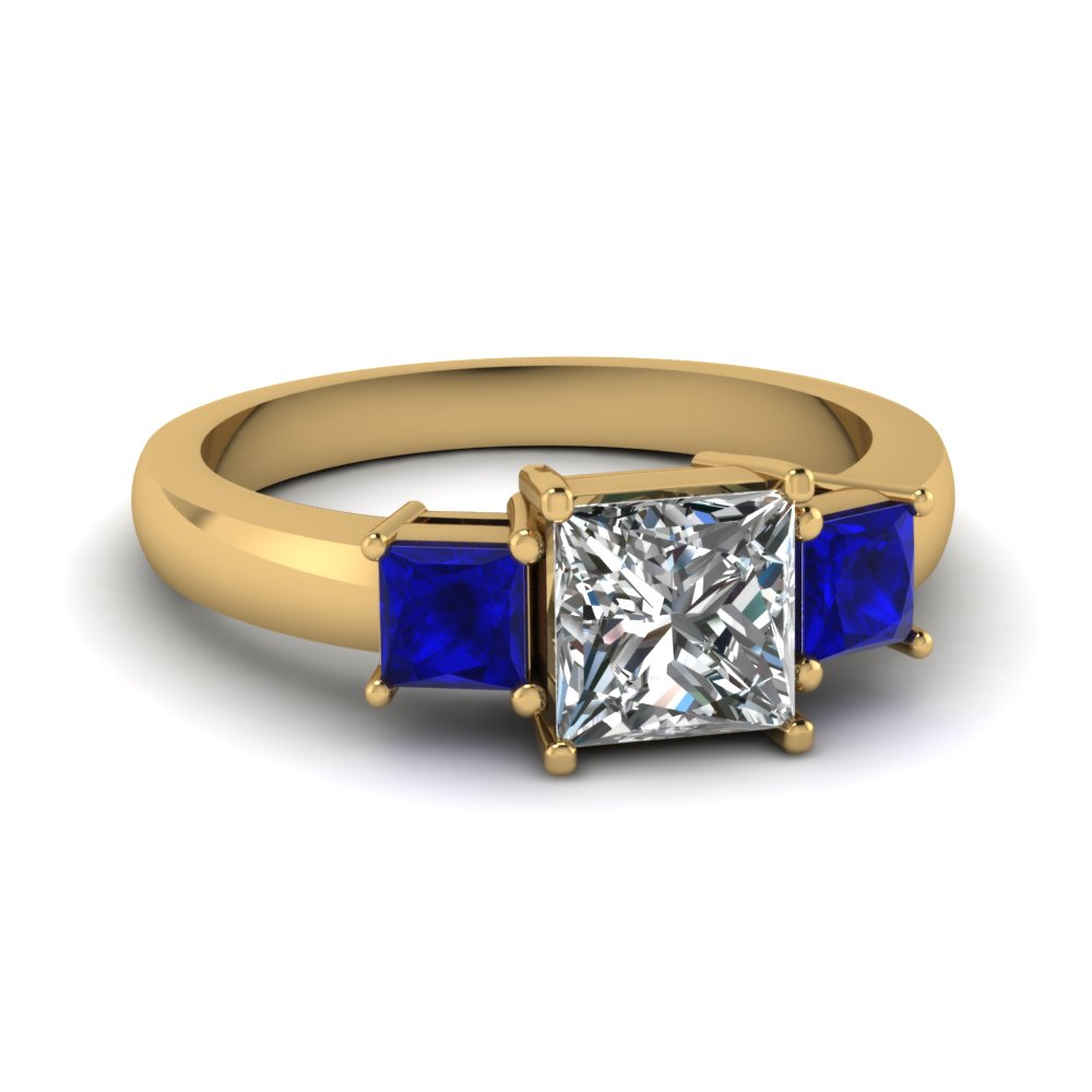 princess cut 3 stone ring with sapphire in FDENR2375PRRGSABL NL YG