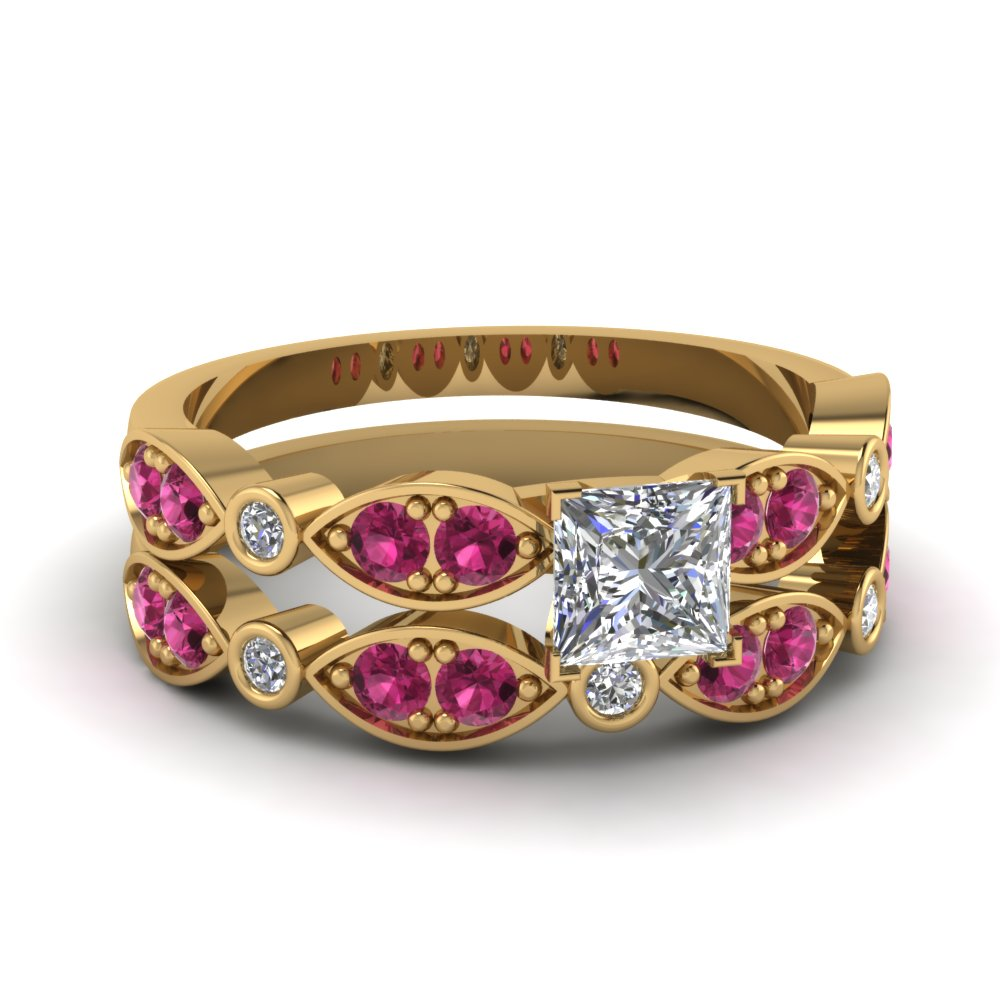 art deco princess cut diamond wedding ring set with pink sapphire in FDENS2035PRGSADRPI NL YG