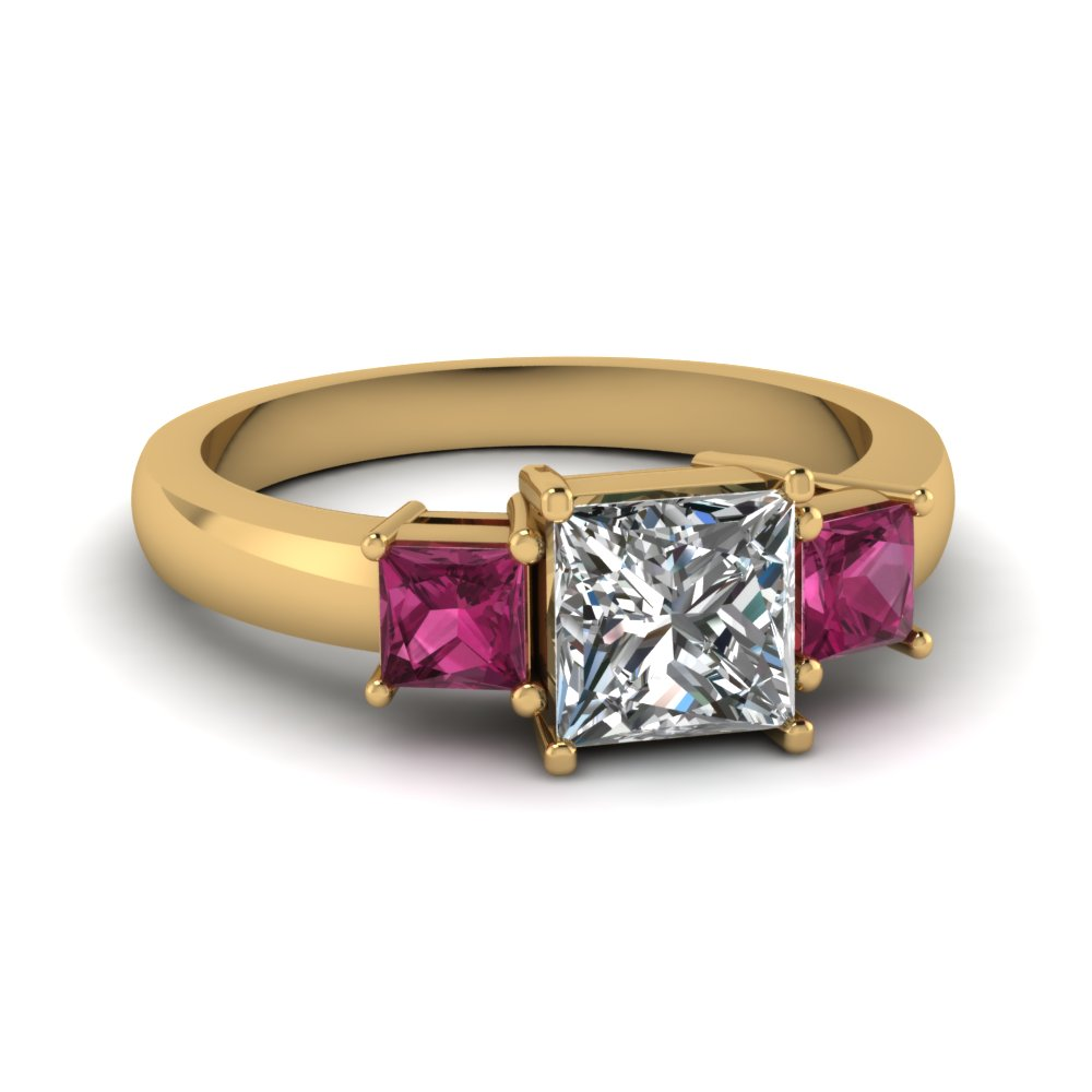 Princess Cut 3 Stone Ring With Pink Sapphire In FDENR2375PRRGSADRPI NL YG
