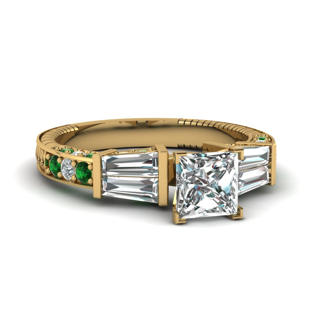 vintage baguette princess cut diamond engagement ring with emerald in FDENS318PRRGEMGR NL YG