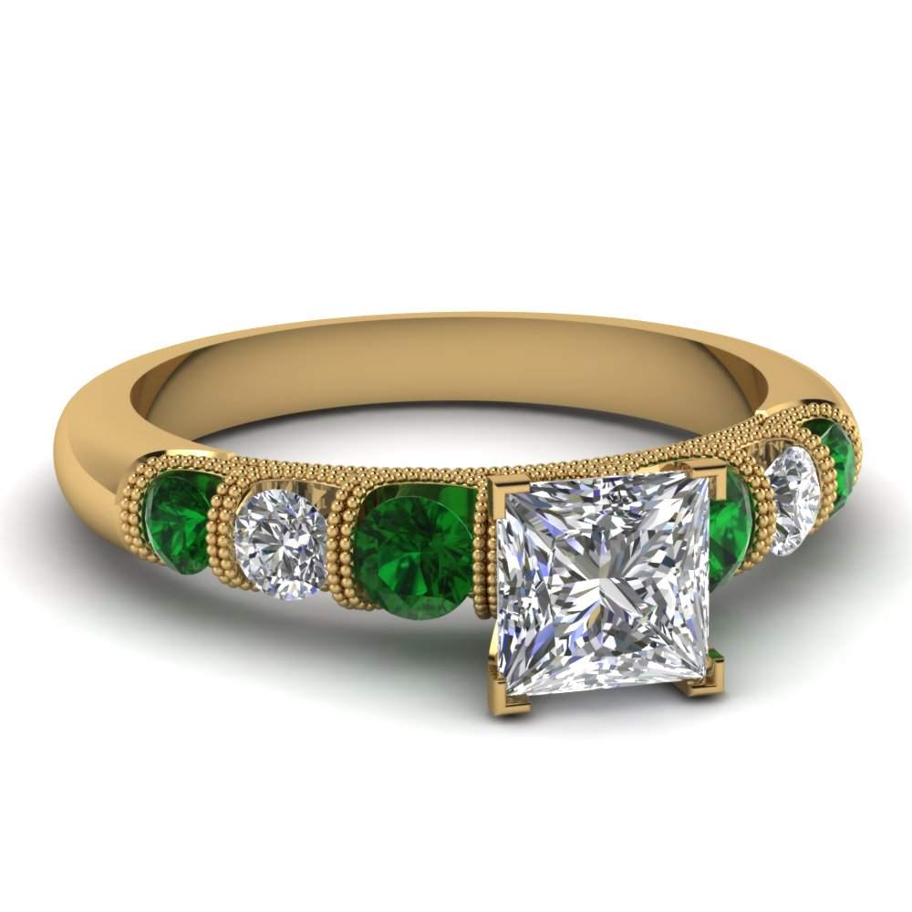 princess cut milgrain prong bar set diamond engagement ring with emerald in FDENS1783PRRGEMGR NL YG