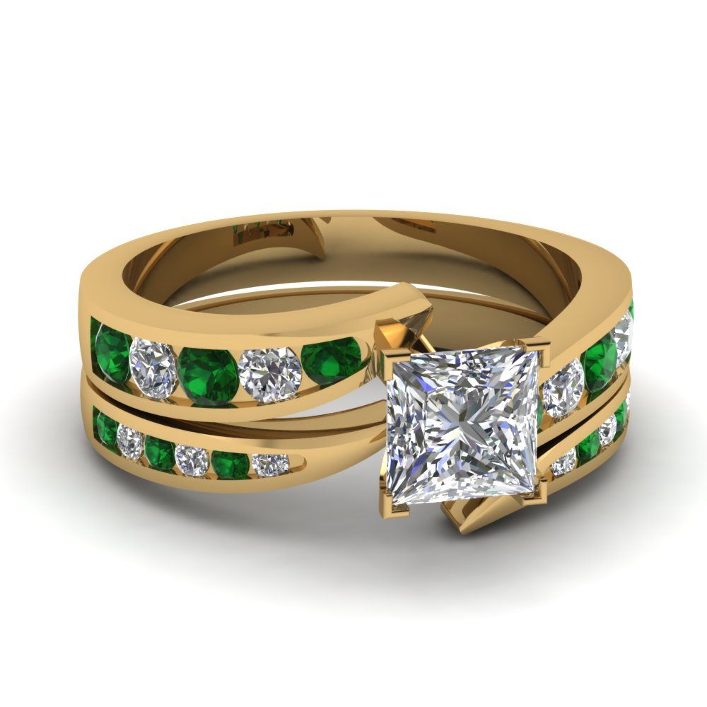 princess cut swirl channel diamond bridal set with emerald in FDENS4028PRGEMGR NL YG.jpg