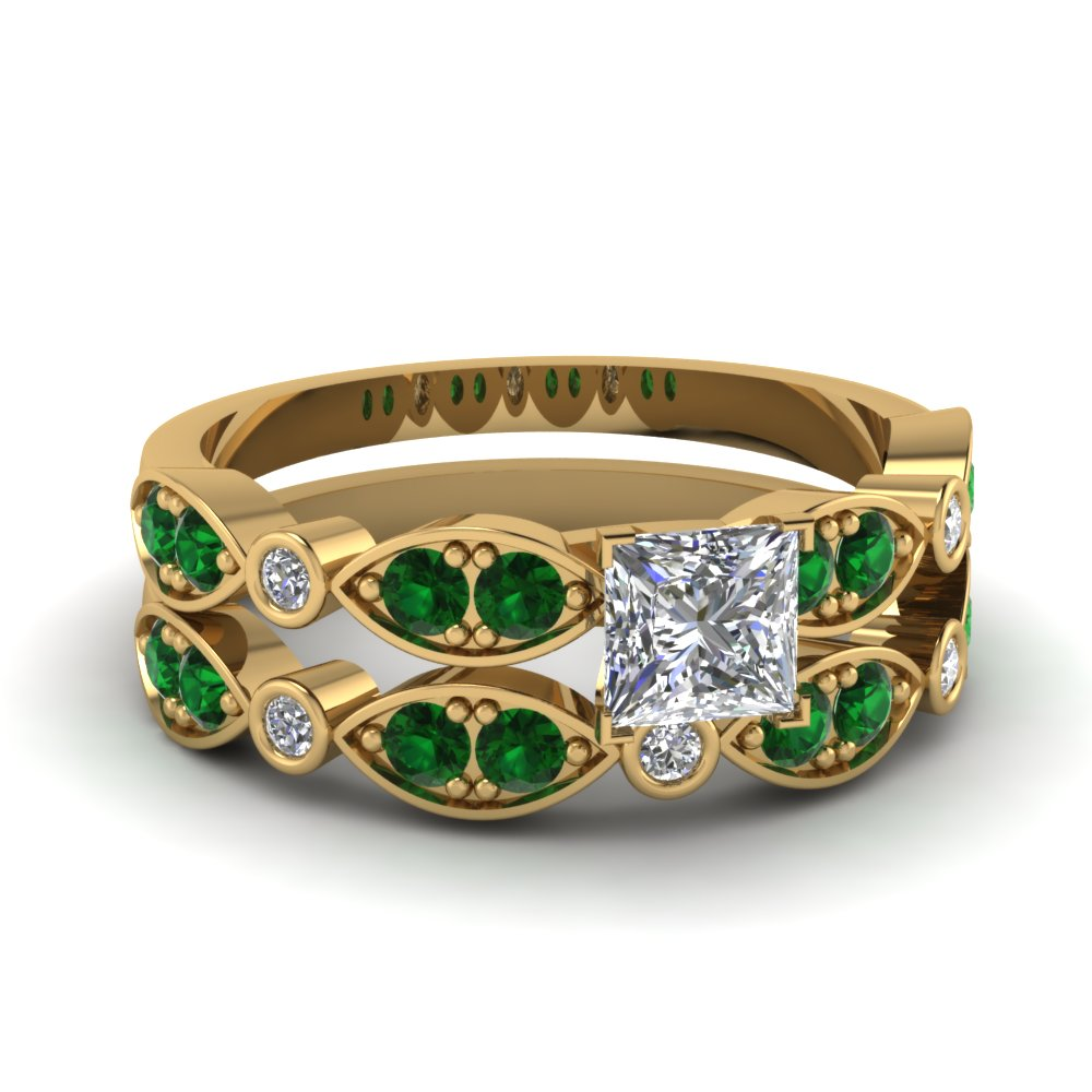 yellow-gold-princess-white-diamond-engagement-wedding-ring-with-green-emerald-in-pave-bezel-set-FDENS2035PRGEMGR-NL-YG