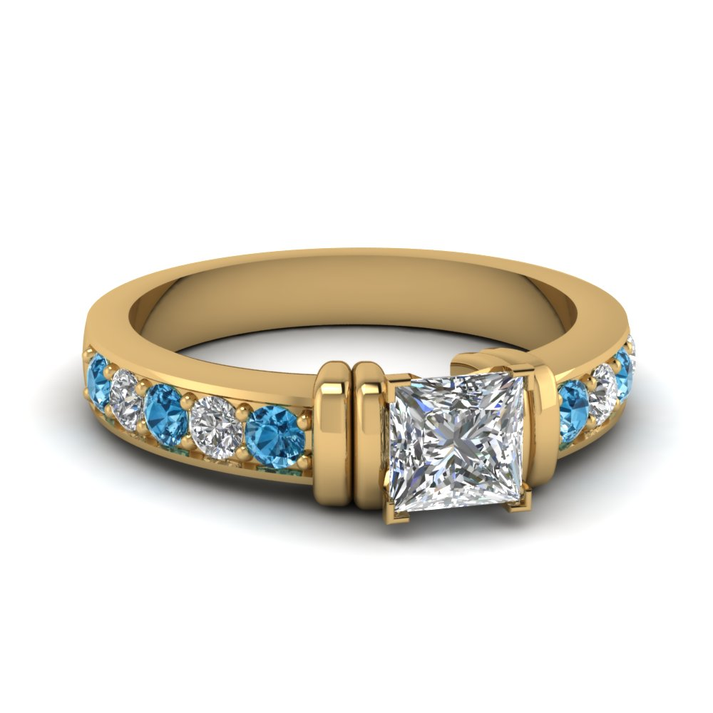 simple bar set princess cut lab diamond engagement ring with blue topaz in FDENR957PRRGICBLTO Nl YG