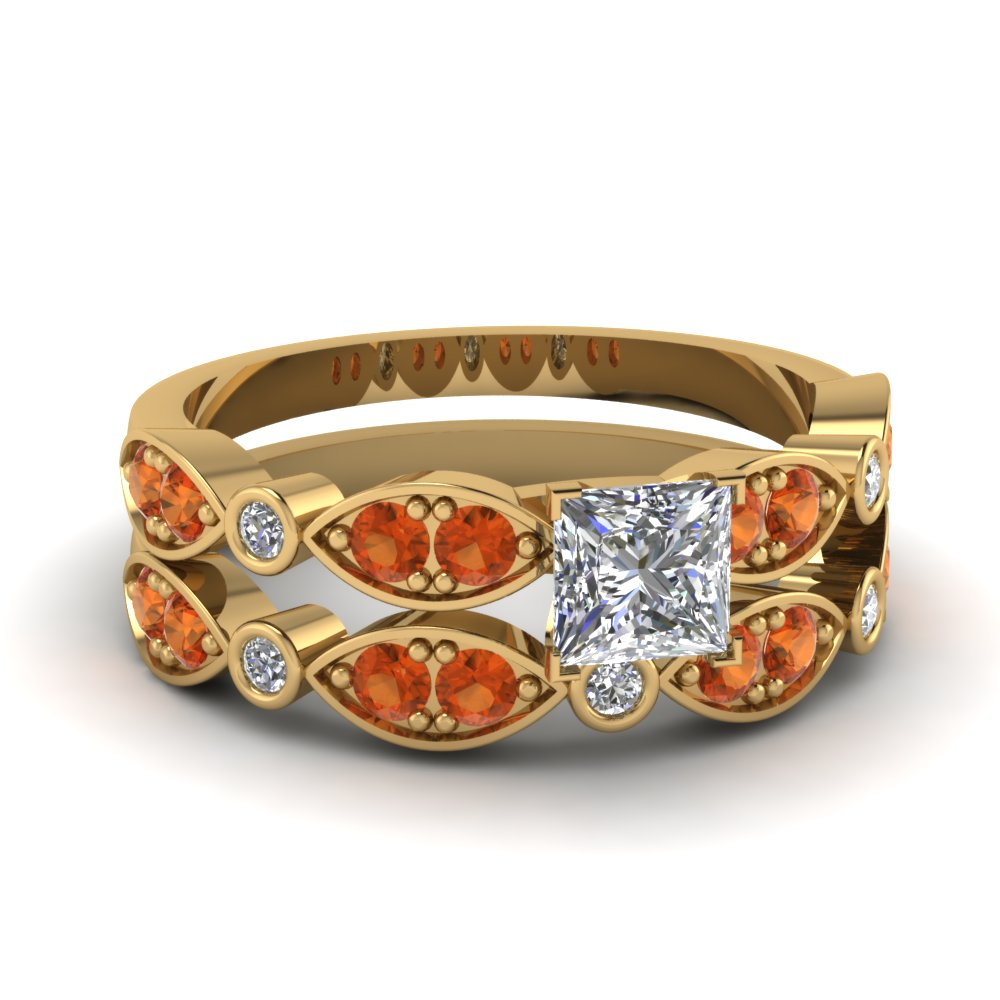 art deco princess cut diamond wedding ring set with orange sapphire in FDENS2035PRGSAOR NL YG