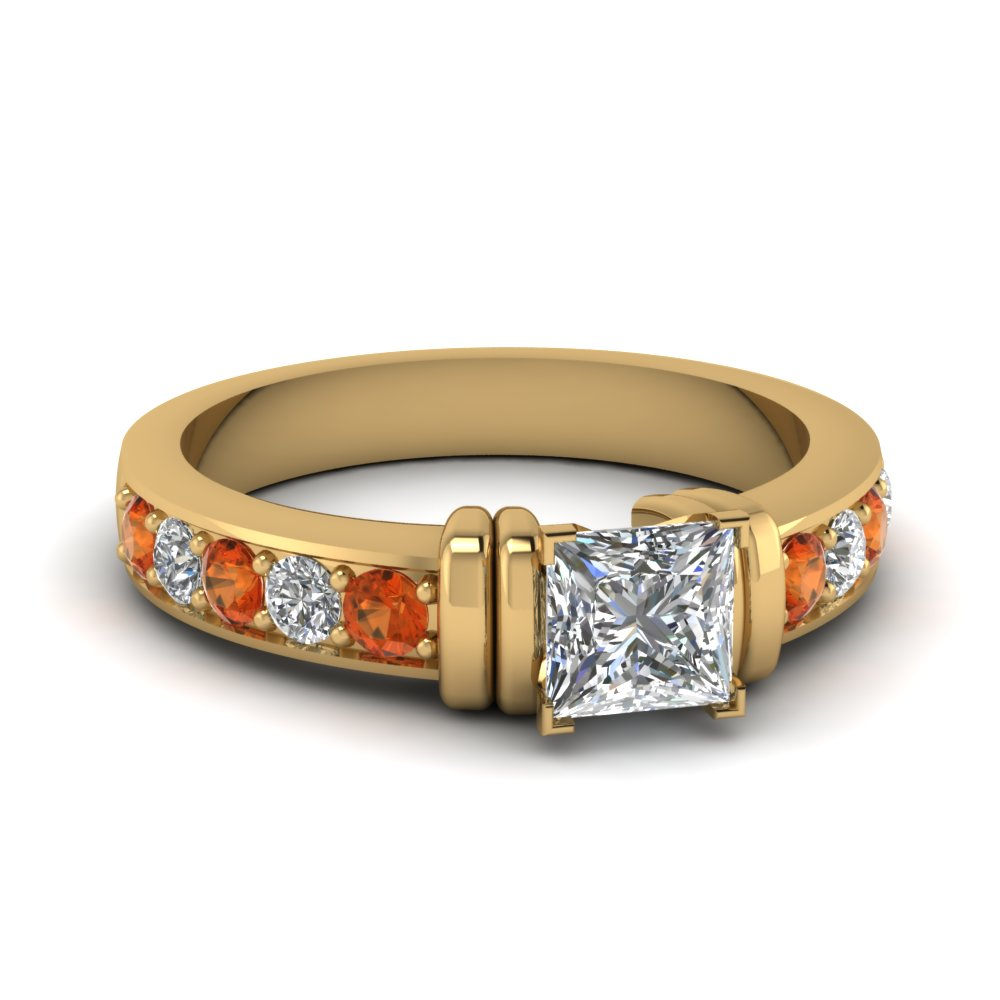 simple bar set princess cut lab diamond engagement ring with orange sapphire in FDENR957PRRGSAOR Nl YG