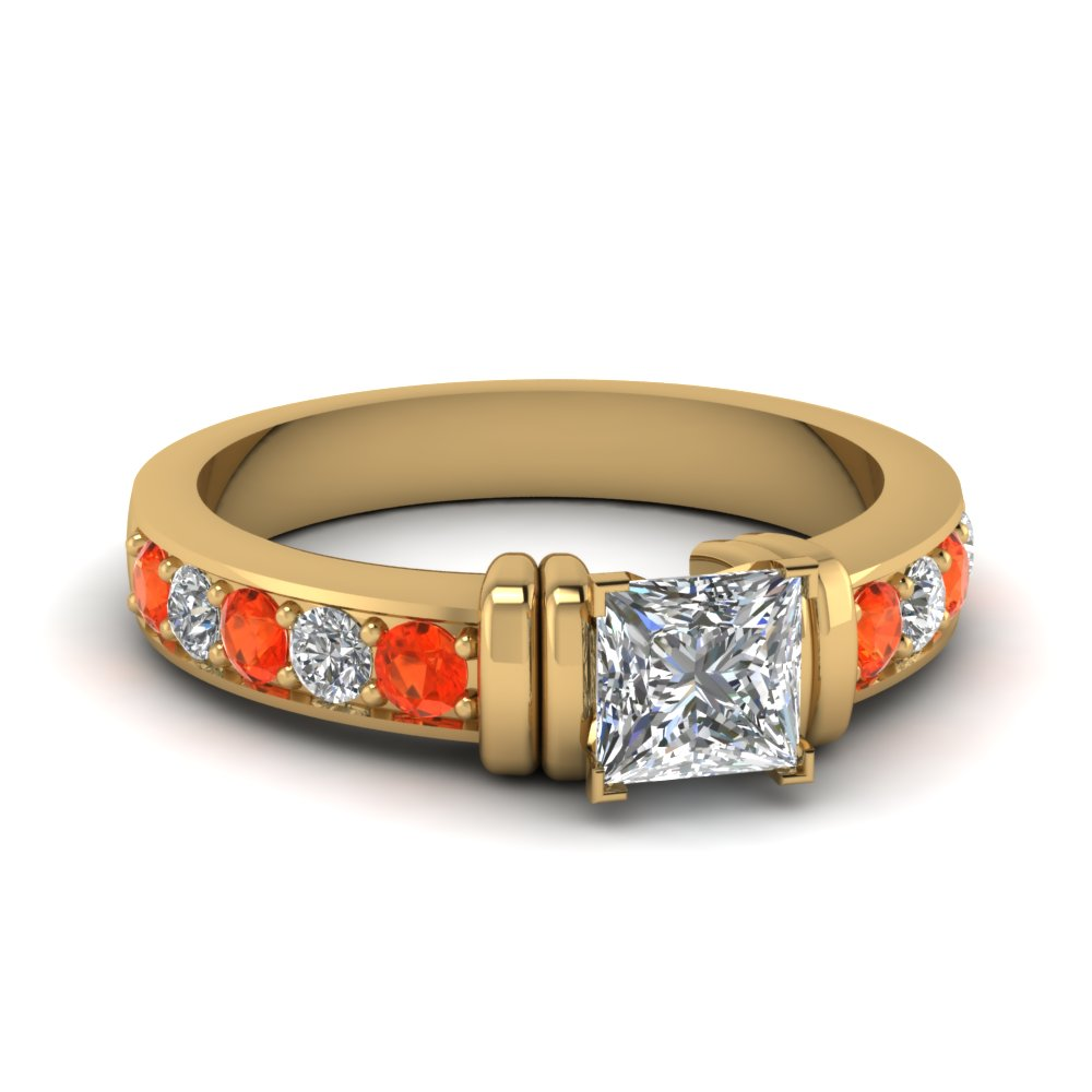 simple bar set princess cut moissanite engagement ring with orange topaz in FDENR957PRRGPOTO Nl YG