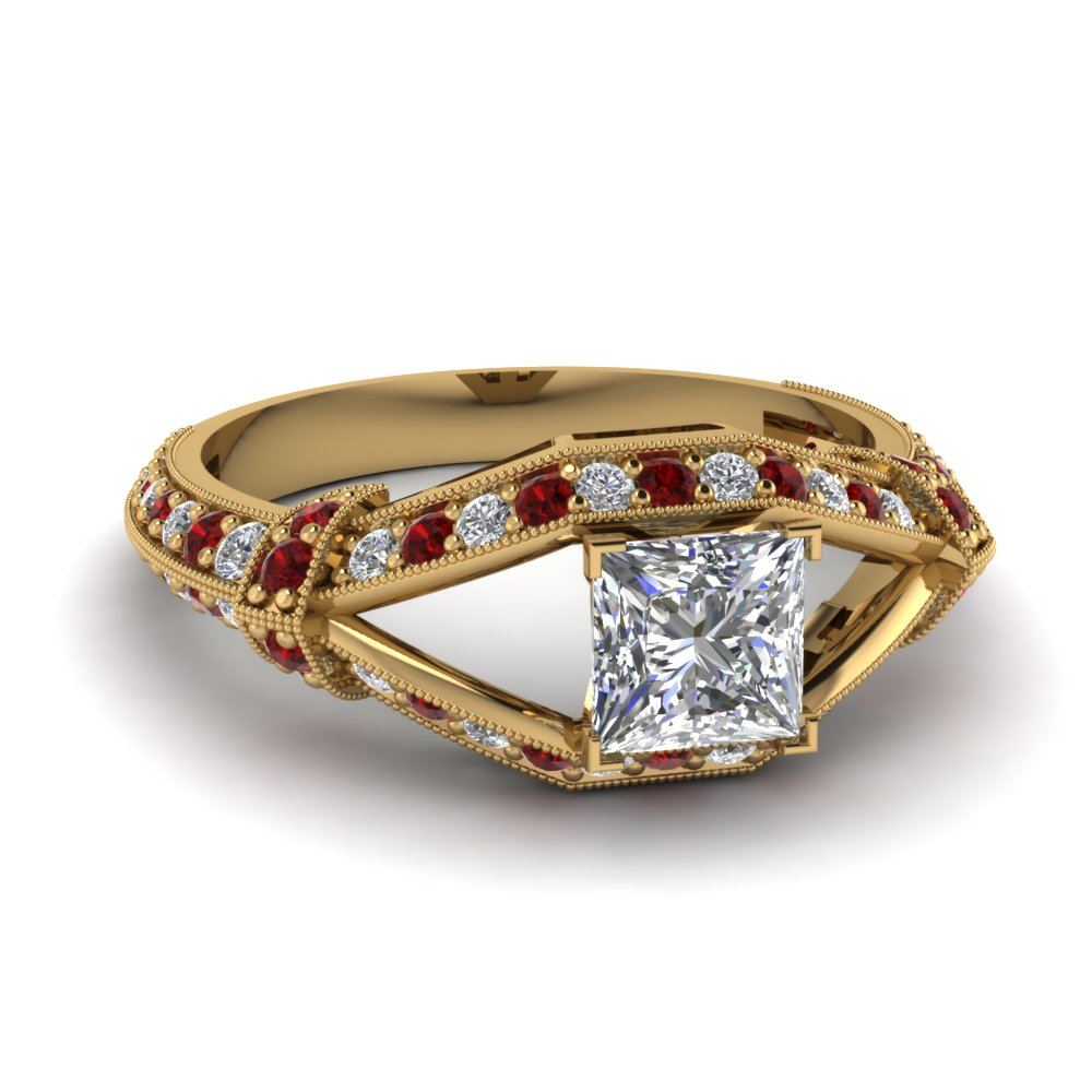 vintage knife edge princess cut diamond engagement ring with ruby in FD1069PRRGRUDR NL YG