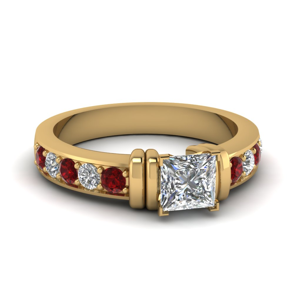 simple bar set princess cut diamond engagement ring with ruby in FDENR957PRRGRUDR Nl YG