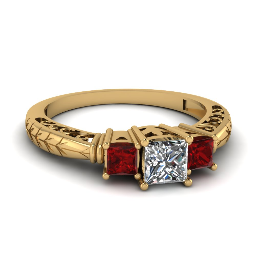 Princess Cut Diamond Ring With Ruby