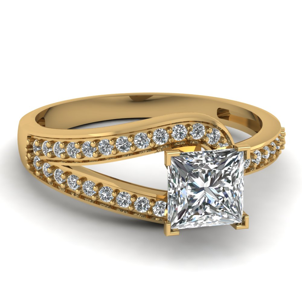 Yellowgoldprincesswhitediamondengagementweddingring