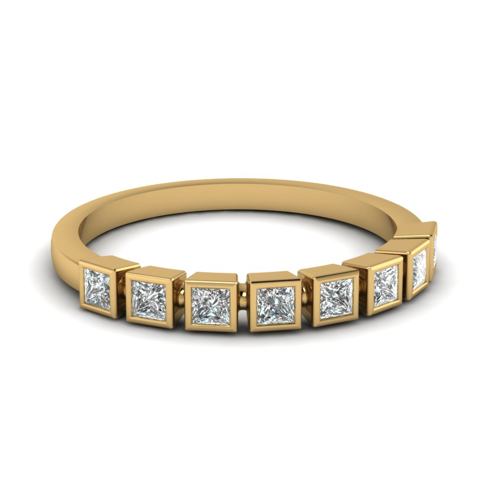 Bezel Set Princess Cut Diamond Yellow Gold Wedding Band