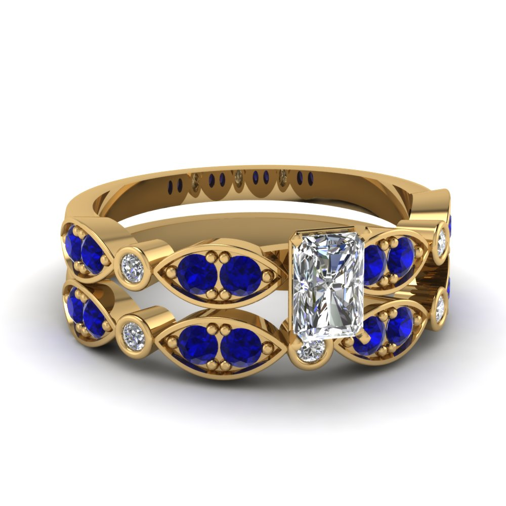 art deco radiant diamond wedding ring set with sapphire in FDENS2035RAGSABL NL YG