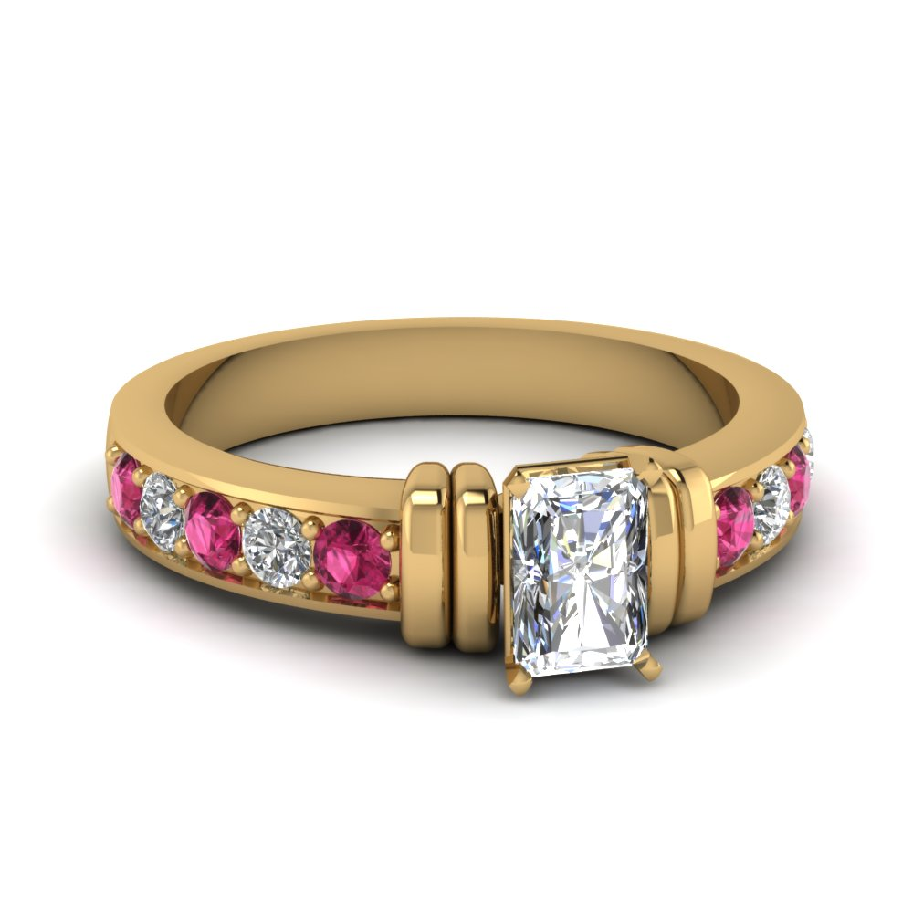 simple bar set radiant diamond engagement ring with pink sapphire in FDENR957RARGSADRPI Nl YG