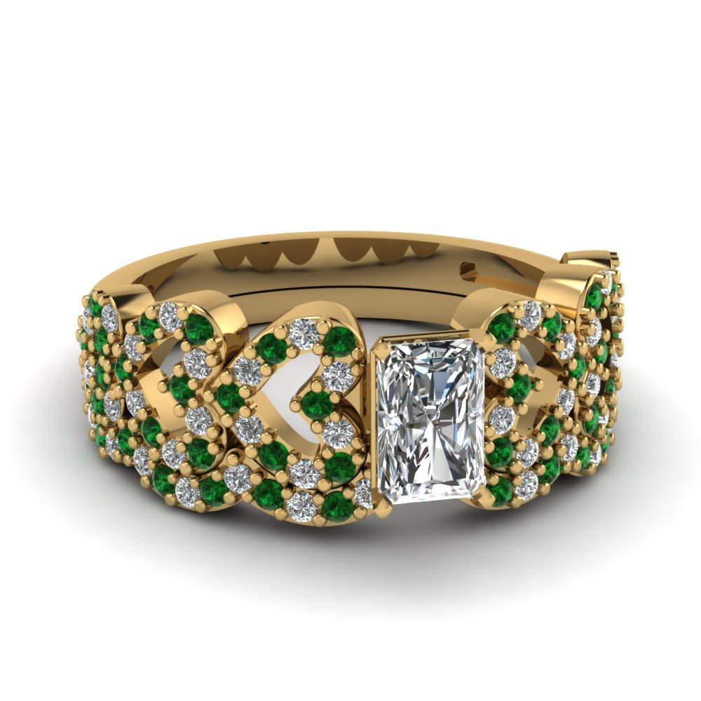 radiant cut heart design linked diamond wedding set with emerald in FDENS3051RAGEMGR NL YG.jpg