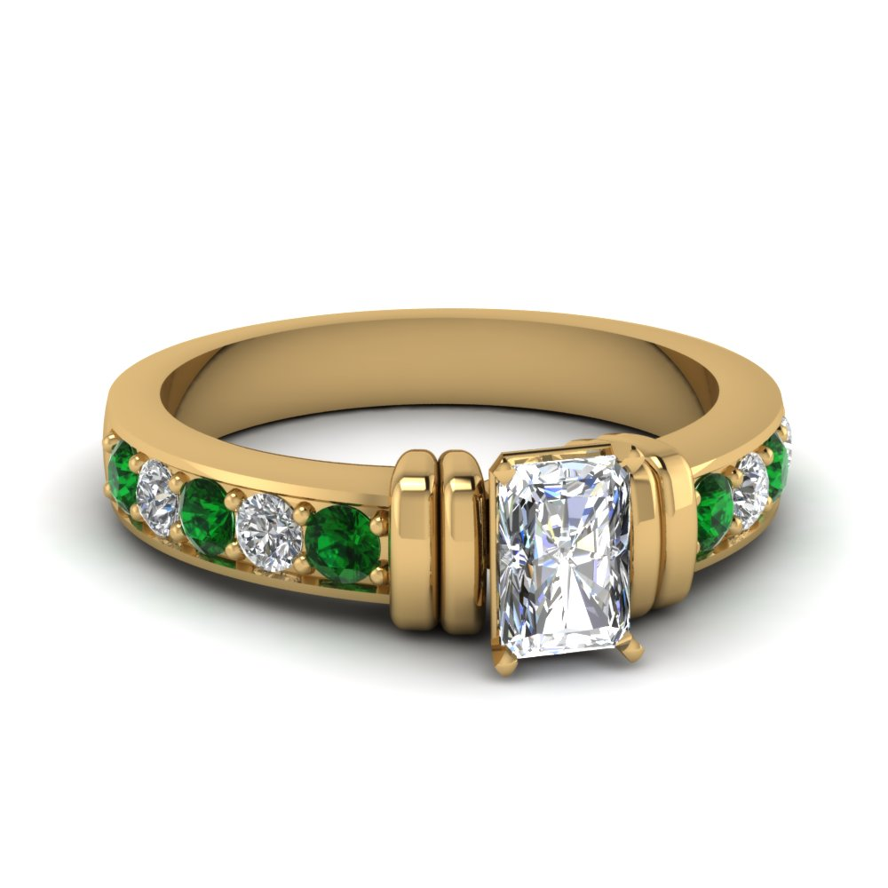 simple bar set radiant diamond engagement ring with emerald in FDENR957RARGEMGR Nl YG