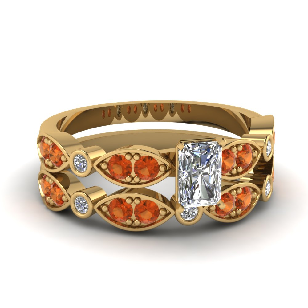 art deco radiant diamond wedding ring set with orange sapphire in FDENS2035RAGSAOR NL YG