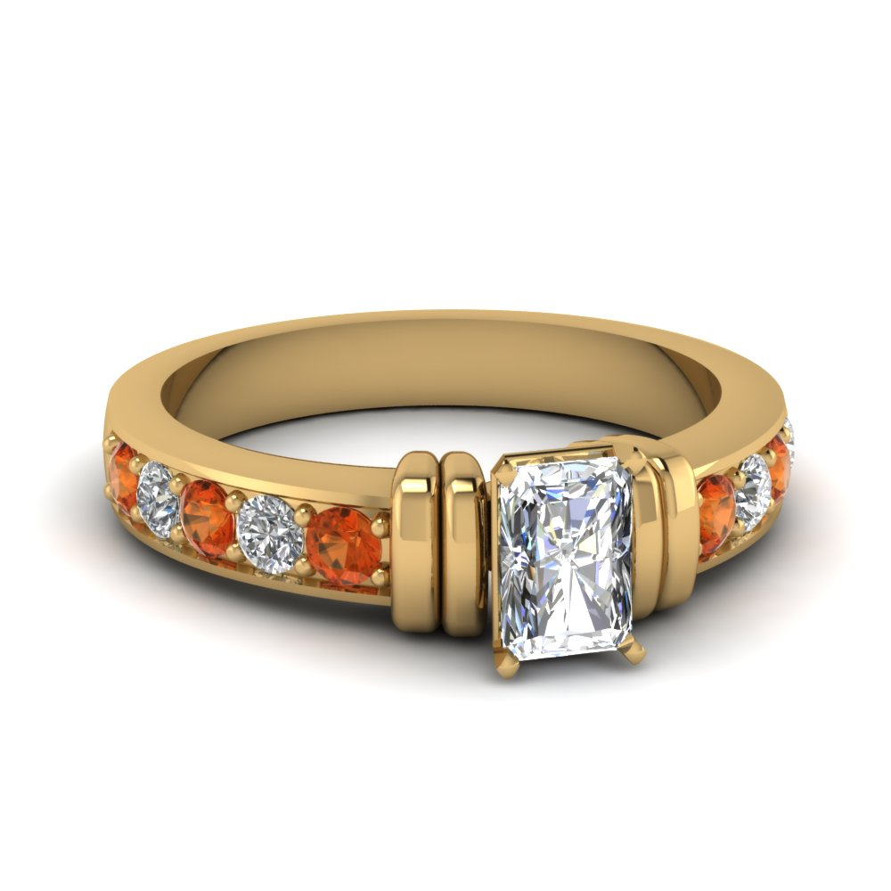 simple bar set radiant lab diamond engagement ring with orange sapphire in FDENR957RARGSAOR Nl YG