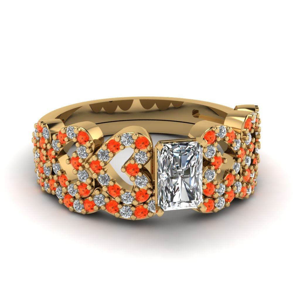 Radiant Cut Heart Design Linked Diamond Wedding Set With Poppy Topaz In 14K Yellow Gold
