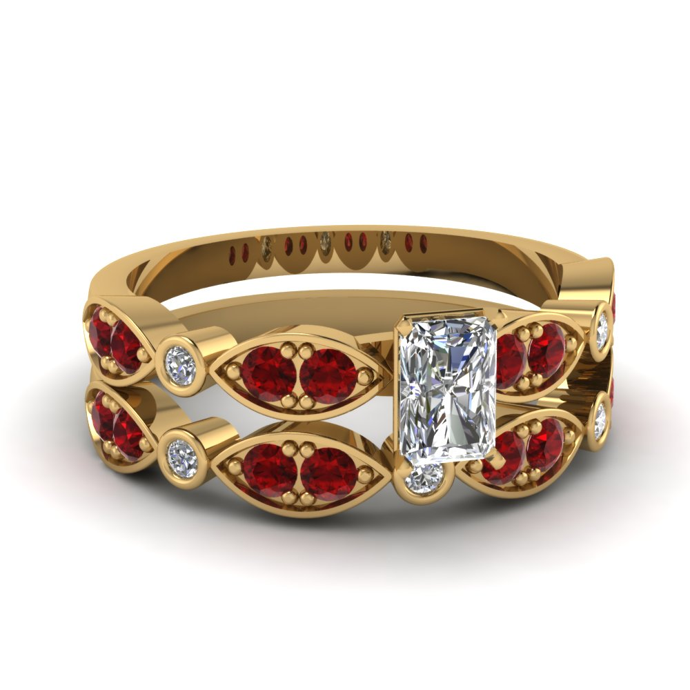 art deco radiant diamond wedding ring set with ruby in FDENS2035RAGRUDR NL YG