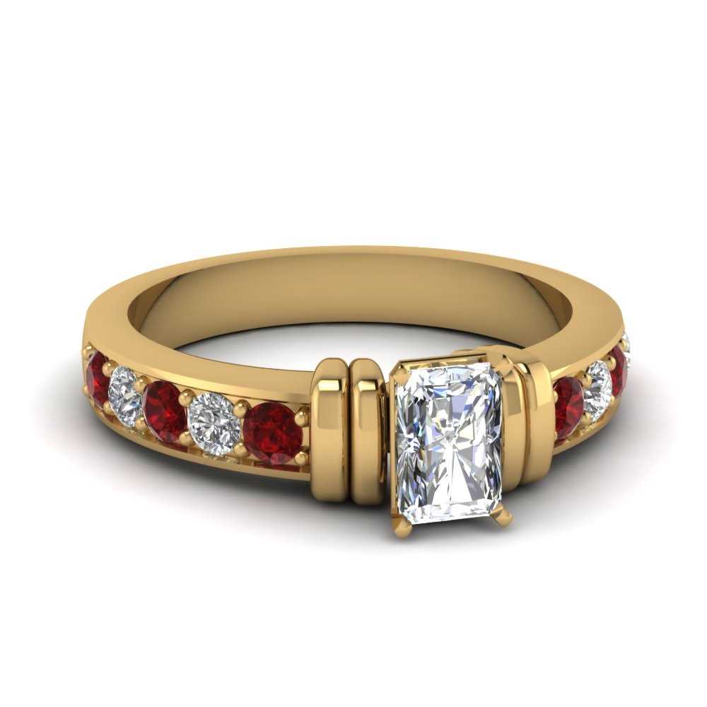 simple bar set radiant diamond engagement ring with ruby in FDENR957RARGRUDR Nl YG