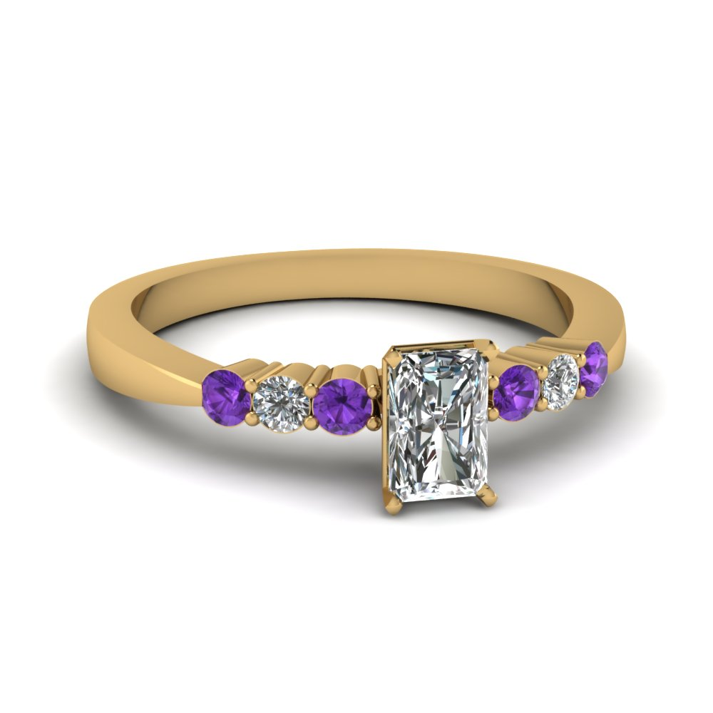 radiant cut tapered 7 stone engagement ring with violet topaz in FDENS750RARGVITO NL YG