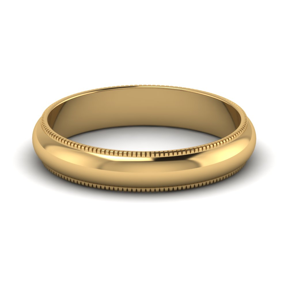 Flat Milgrain 14k Yellow Gold Mens Wedding Band