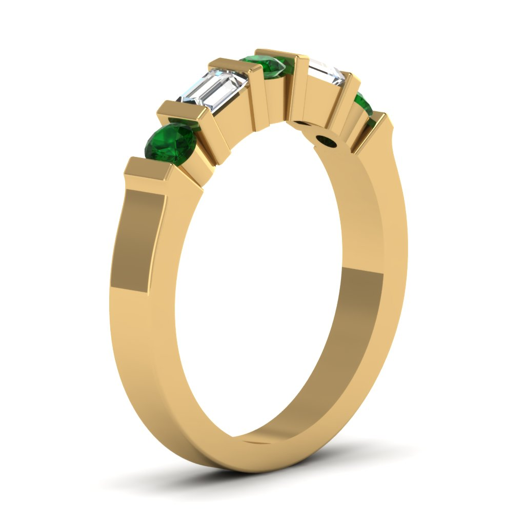 Yellow Gold Round Baguette Green Emerald Wedding Band With White ...