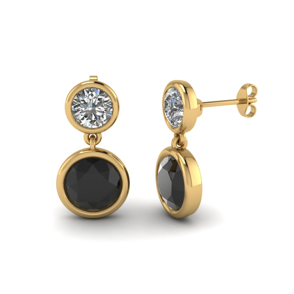 Bezel Round Drop Earring With Black Diamond In Fdear1082gblack Nl Yg